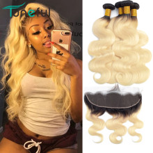 1B 613 Blonde Bundles with Frontal Brazilian Body Wave Remy Human Hair Extensions Dark Roots Russian Honey Bundles With Frontal