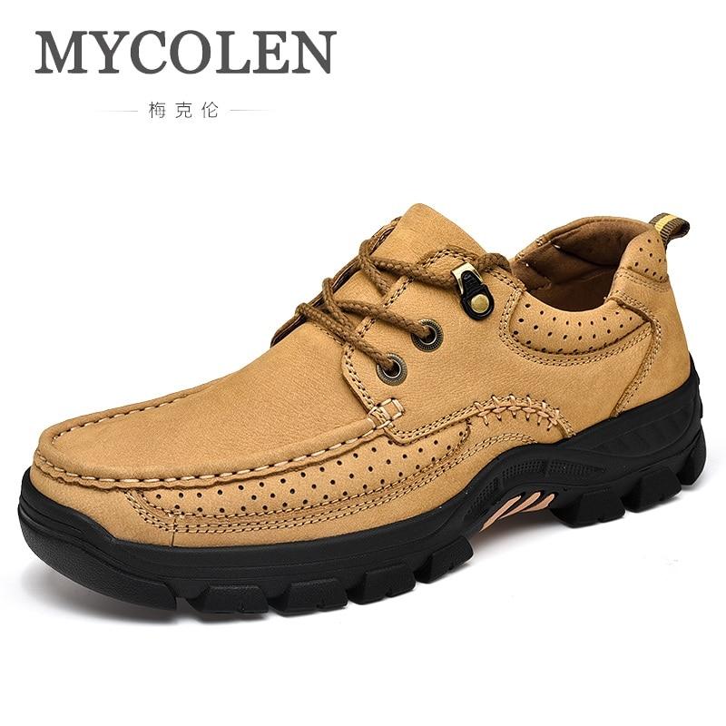 MYCOLEN Echt Leer Mannen Casual Schoenen Top Kwaliteit Outdoor Wandelschoenen Mannen Reis Slijtvast Echt Leer Mannen Schoenen