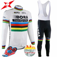 2017 Winter Team BORA Pro Cycling Jersey Pants Set Ropa Ciclismo MTB Thermal Fleece Windproof Cycling