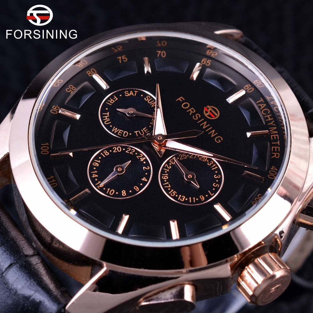 Forsining 2017 3 Dial 6 Hands Rose Golden Case Genuine Leather Strap Mens Watch Top Brand Luxury Automatic Watch Male Wristwatch forsining classic series black genuine leather strap 3 dial 6 hands men watch top brand luxury automatic mechanical watch clock