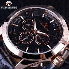 Forsining 2017 3 набрать 6 Руки Golden Rose случае Пояса из натуральной кожи ремешок мужские часы лучший бренд класса люкс автоматические часы мужские наручные часы