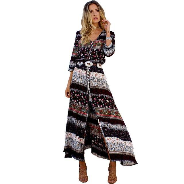 Сексуальная печати с длинным женское платье элегантные Макси Винтаж Мода 2017 г. пляжный халат чешские Vestidos Повседневная одежда Летнее стильное платье