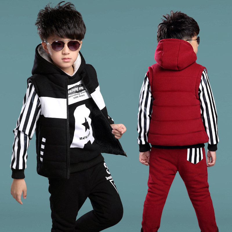 ФОТО 2017 New Year Winter Clothes Kids Boys Girls Clothing Sets 3 Pieces Striped Fashion Hooded Sports Outdoor wear