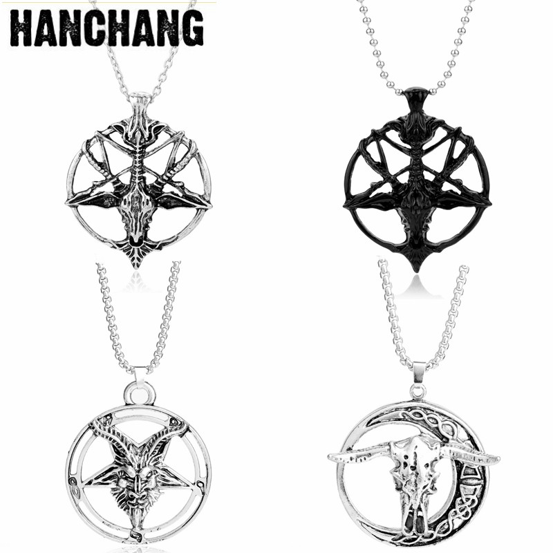 Baphomet Inverted Pentagram Goat Head Pendant Pan God Skull Head Choker Necklace Satanism Occult Necklace Men Viking Jewelry