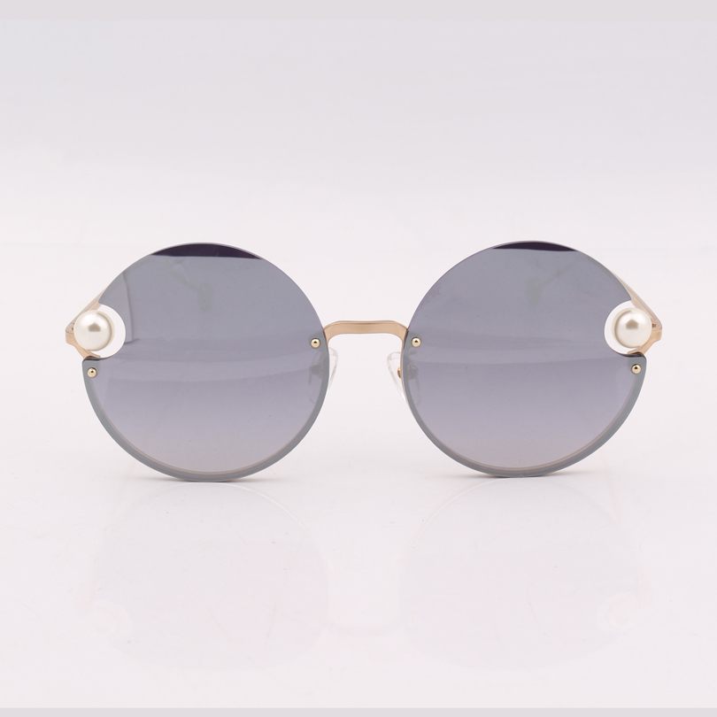 high quality round frame silver mirrored lens women sunglasses with plastic pearls gafas de sol mujer