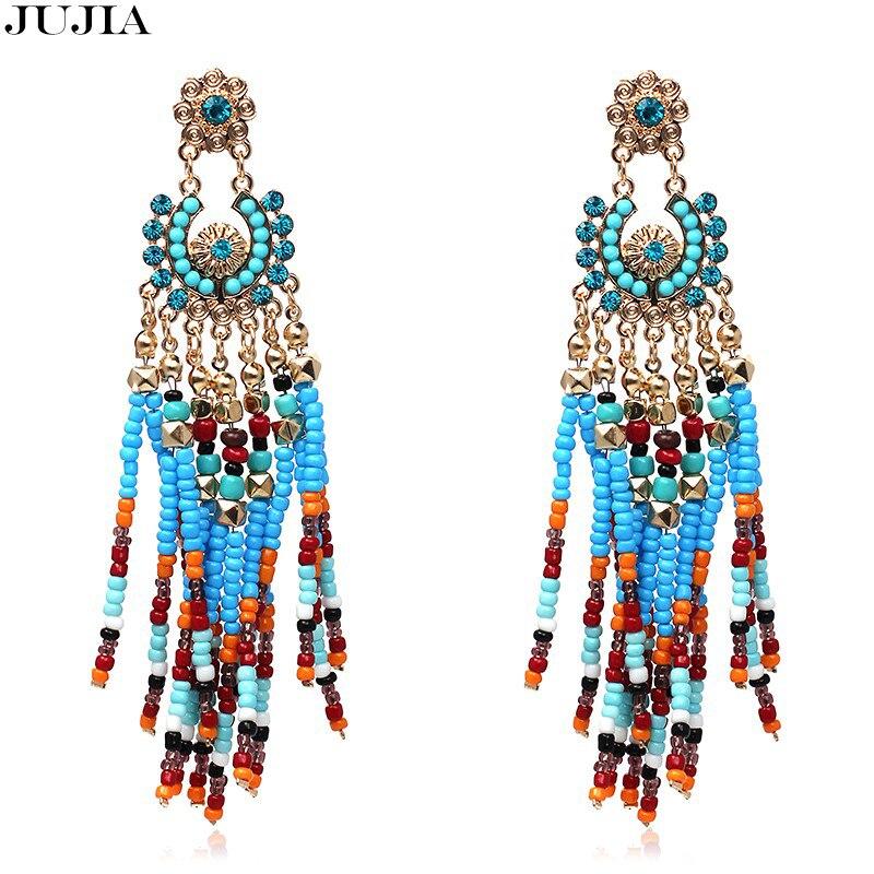 Новое поступление jujia Jewelry Новые Богемия Цвета Мода смолы бисера Веерообразный большой Серьги с жемчугом для Для женщин