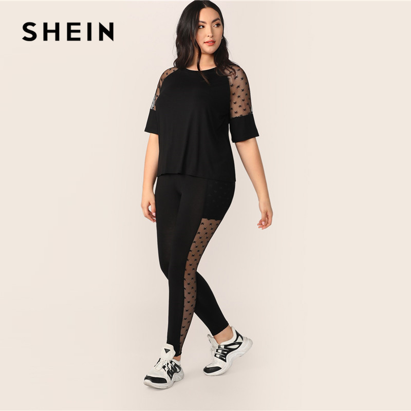 SHEIN Plus Size Black Star Mesh Insert Sleeve Top And Leggings Set 2019 Women Spring Sheer Half Raglan Sleeve Stretchy Two Piece 1