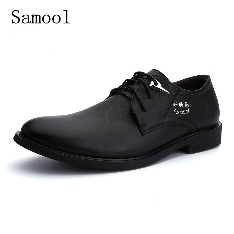 Men Dress Shoes Genuine Leather 2017 Business Fashion Men's Oxford Shoes Leather  Shoes Lace-up Big Size 37-47 Free shipping