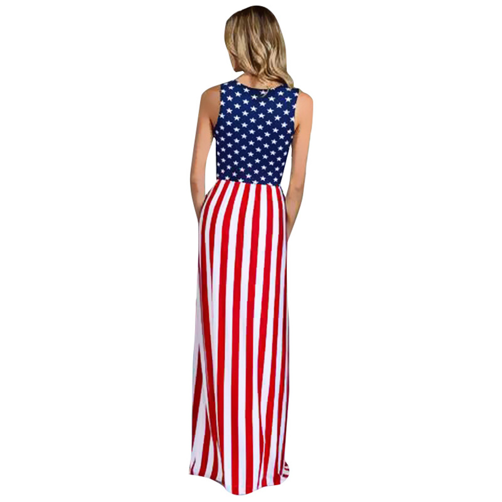 80f163e24415 3XL Plus Size Women Stars and Striped Maxi Dress Sleeveless Elastic Waist  Casual Robe female American Flag Star Print Long Dress