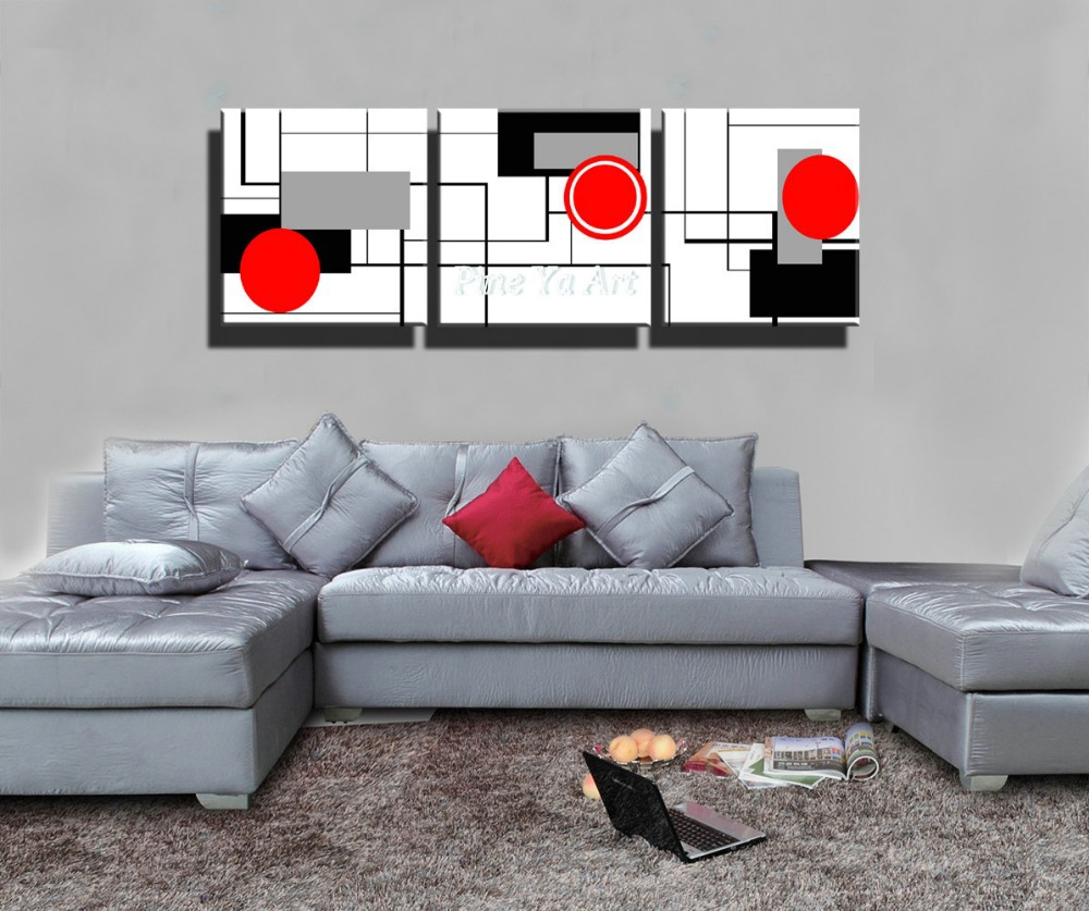 cheap 3 piece living room set ideas to decorate the hd print red black white modern artwork ...