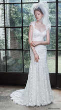 Vestido De Noiva Elegant Sweetheart Full Applique Cap Sleeve Mermaid Brush Train Wedding Dress NM 542