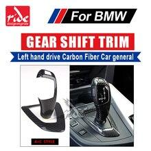 For BMW E46 E90 E92 E93 F30 F35 318i Left hand drive Carbon car general Gear Shift Knob Cover & Surround Cover interior trim A+C for bmw lhd carbon fiber auto door handle knob exterior trim covers for bmw 1 3 4 series e90 e92 e93 f30 f35 2005 15 sticker