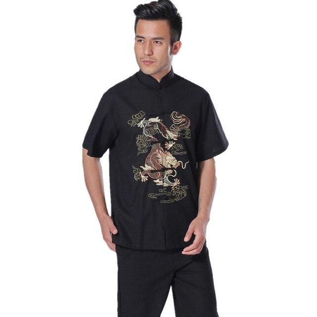 New Arrival Chinese Men Cotton Linen Kung Fu Shirt Short Sleeve Kung Fu Shirt Wu Shu Clothing Tops M L XL XXL XXXL W04