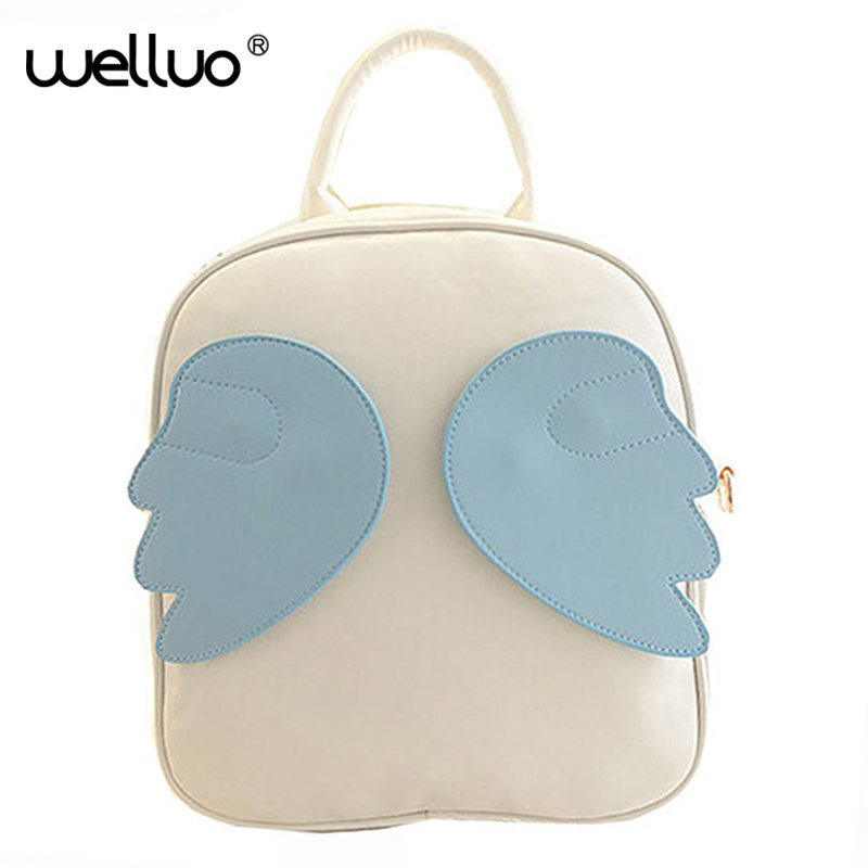 2015 Children Backpacks Fancy Kids School Bags Leather Satchel Lovely Student Packs Angel Wings Rucksack Bolsos