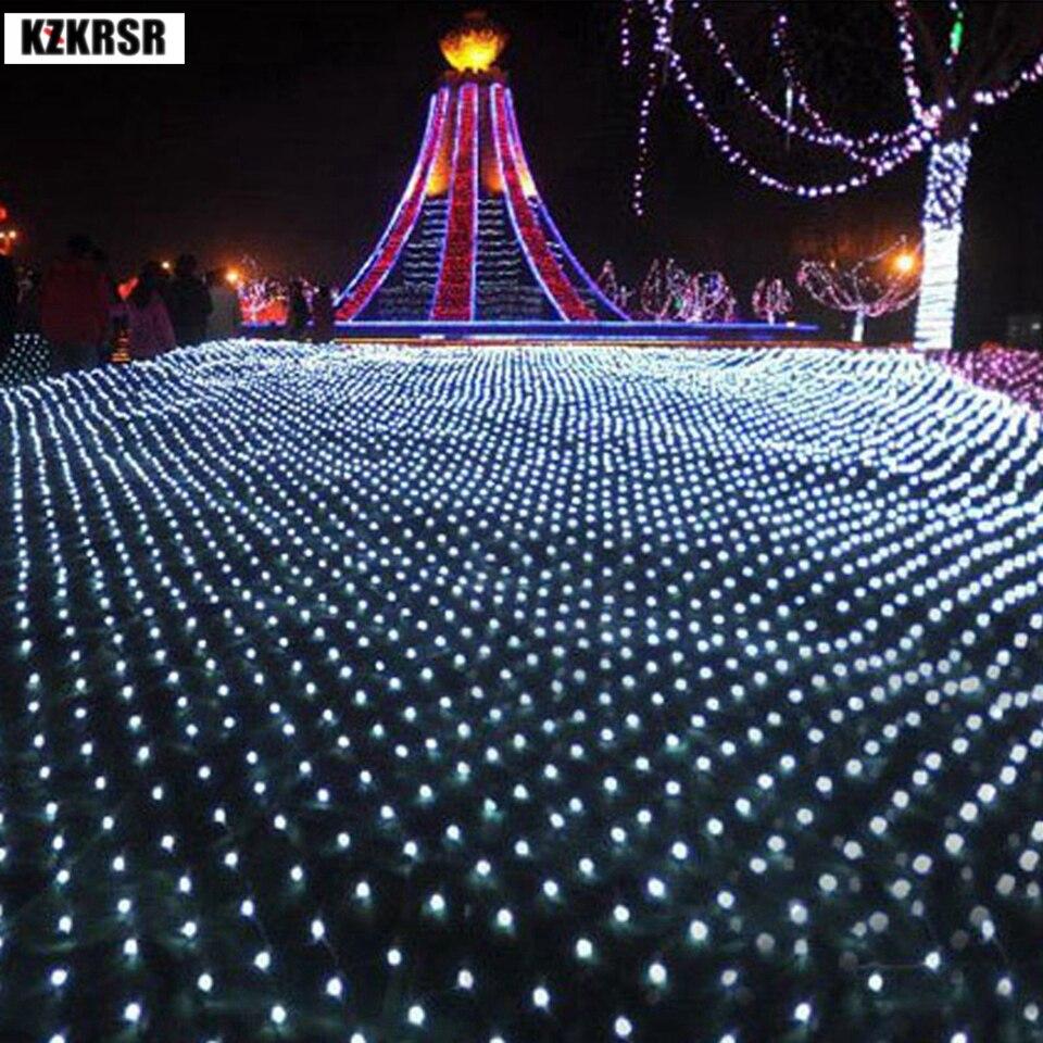 все цены на KZKRSR 1.5x1.5m 96leds 8 modes 220V Mesh Net LED String Light Festival Christmas New Year Wedding Decoration White RGB Blue онлайн