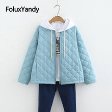Korean Style Slim Parkas Fashion Thin Winter Coat Short Plus Size Parka Solid Jacket Women SWM1301
