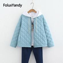Корейский стиль Тонкий парки модные тонкие зимние пальто короткие плюс размеры парка однотонная зимняя куртка для женщин SWM1301