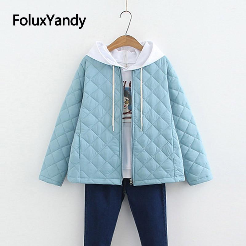 Korean Style Slim   Parkas   Fashion Thin Winter Coat Short Plus Size   Parka   Solid Winter Jacket Women SWM1301