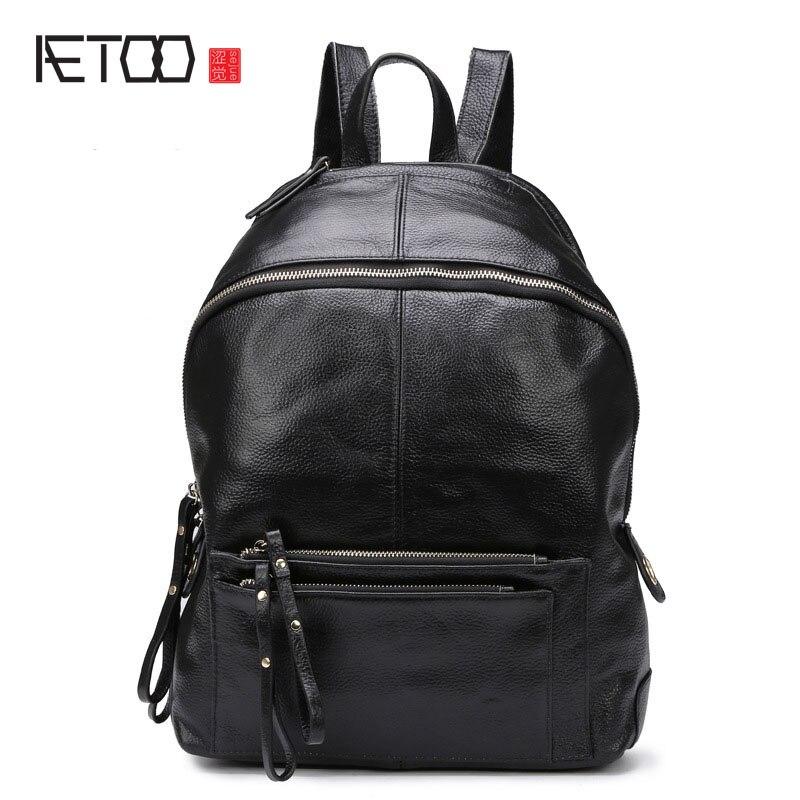 AETOO 2017 new winter leather bag backpack Backpack Bag Korean female head layer cowhide 14 inch computer bag