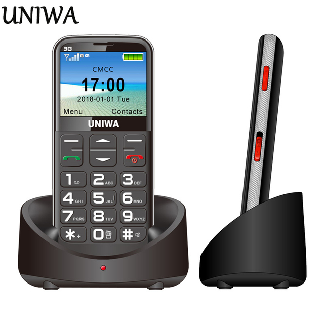 """UNIWA V808G Old Man Mobile Phone 3G SOS Button 1400mAh 2.31"""" Curved Screen Cellphone Flashlight Torch Cell Phone For Elderly"""