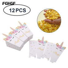 Box 12 pieces unicorn party popcorn box DIY birthday