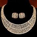 Oro plateado Mujeres collar de Moda collar llamativo para el banquete de boda de boho crystal sistemas de la joyería de moda 2016