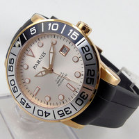 42mm parnis Black Dial Luminous Marks Rubber strap Rose Golden Plated Case 21 jewels Miyota Automatic Mechanical men's Watch