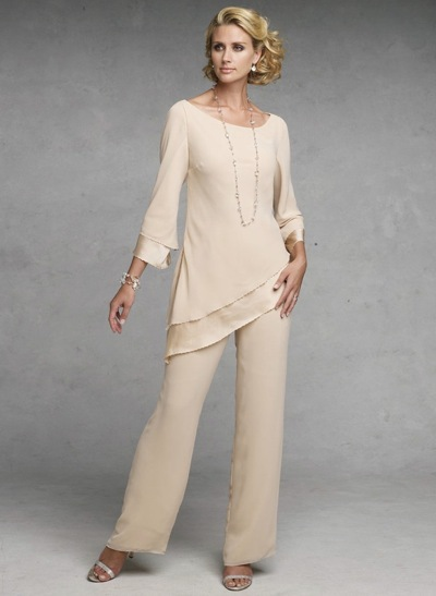 Elegant Women Chiffon Long Mother Suits For Wedding Scoop Neckline