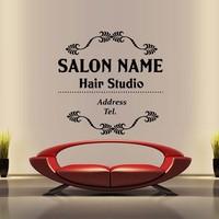 Hair Salon Vinyl Wall Decal Hair Salon Name Custom Wall Sticker Beauty Hairstyle Signboard Sign Hair Shop Glass Decoration