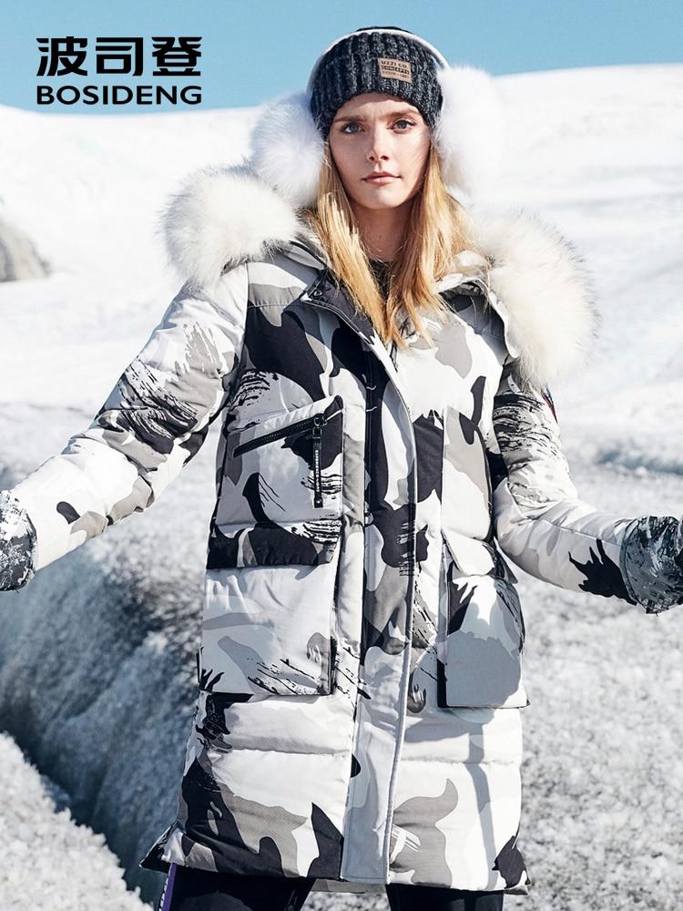 BOSIDENG 2018 nuovo duro inverno addensare piuma d'oca cappotto lungo parka donne cappotto di pelliccia vera pelliccia con cappuccio impermeabile antivento B80142146