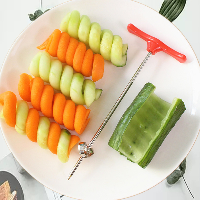 1Pc Gadget Vegetable Spiral Knife Carving Tool Potato Carrot Cucumber Salad Chopper Manual Spiral Screw Slicer Cutter Spiralizer in Garnishes from Home Garden