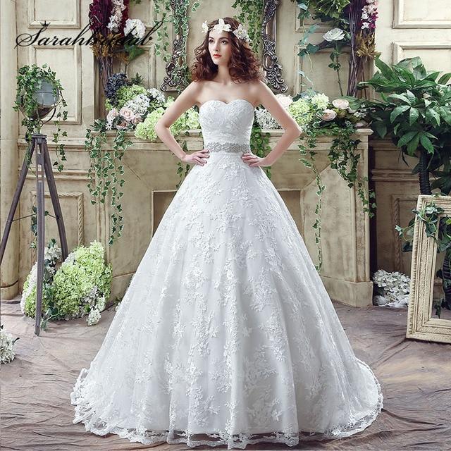 Y Sweetheart Lace Wedding Dresses With Shining Beading Bow Sashes 2018 Tulle Sleeveless Up Back