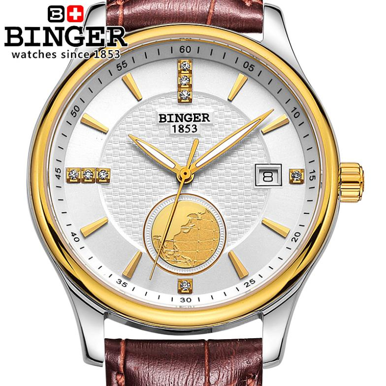 Switzerland watches men luxury brand Wristwatches BINGER Automatic self-wind Diver luminous full stainless steel watch BG-0409-3