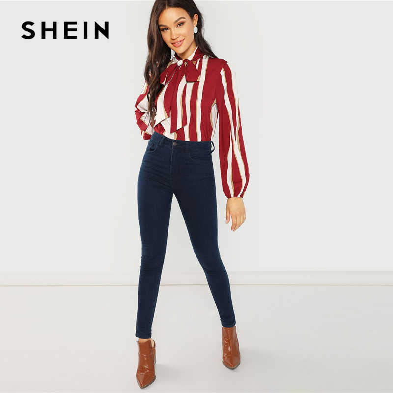 5a9ead36dd ... SHEIN Multicolor Tie Neck Striped Blouse Workwear V Neck Long Sleeve  Blouses Women Autumn Office Ladies ...