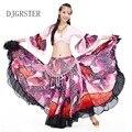 Talla L-XL Ropa Danza Del Vientre Oriental 1-2 UNIDS Conjunto Traje de la Danza Del Vientre Traje Sujetador y Falda Larga de Gasa rendimiento de Color Rojo y Rosa