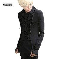 Men fashion casual long sleeve gloves T shirt male turtleneck slim fit tee shirt punk gothic costume clothing