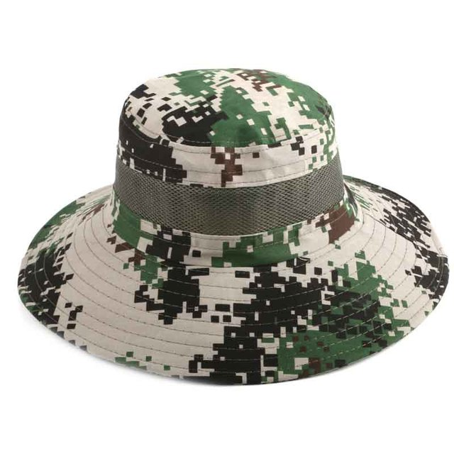 7acfd2e73b4 Summer Breathable Sun UV Protection Wide Brim Fishing Bucket Hats For Men  Outdoor Camouflage Army Green Tactical Caps 6 Colors