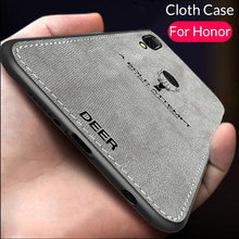 Fabric Cloth Phone Case For Honor 10 Lite 8 9 Light 8X Play Ultra Thin Soft Tpu Edge Cover For Huawei Honor 10 Lite 10lite 9lite(China)