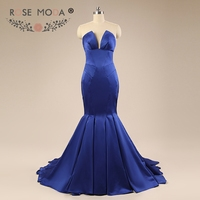 Rose Moda Deep V Neck Royal Blue Mermaid Prom Dress Strapless Xmas Prom Dresses 2018