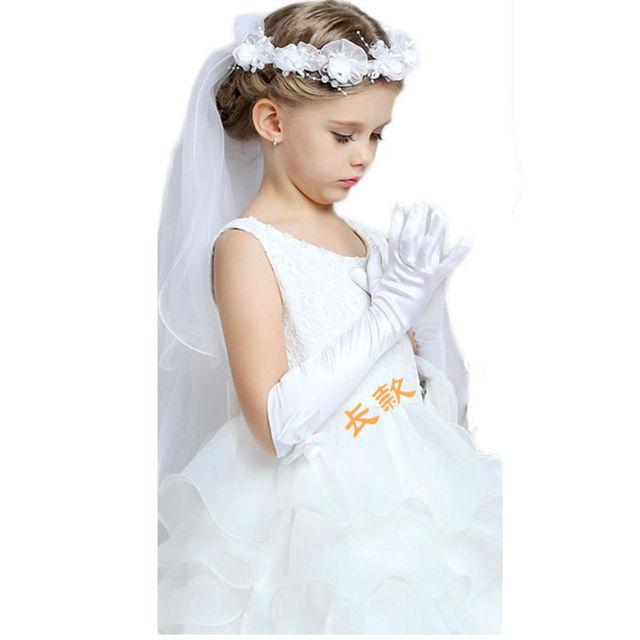 Menina Flor branca Stain Com Laço Repiques Meninas Luvas Luvas de Dedos Completos Luvas De Festa De Casamento 2016 New Arrivals Frete Grátis