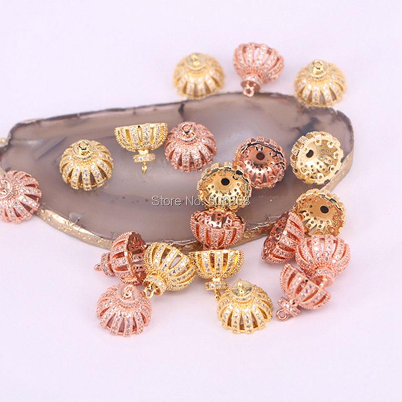 Hot Fashion Retro Copper CZ Rhinestone Silver Gold Rose Gold Beads