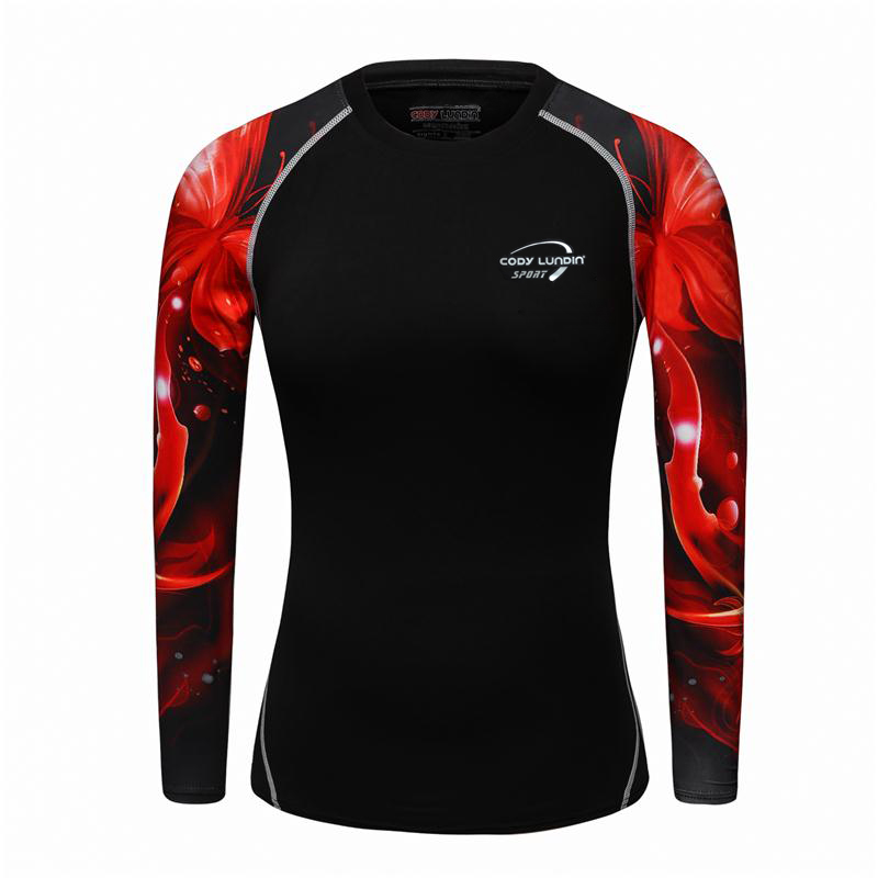 2017 New Women/girls Compression T-Shirts Long Sleeve 3D Print Tee Female Body Weight Lifting Workout Fitness Clothing