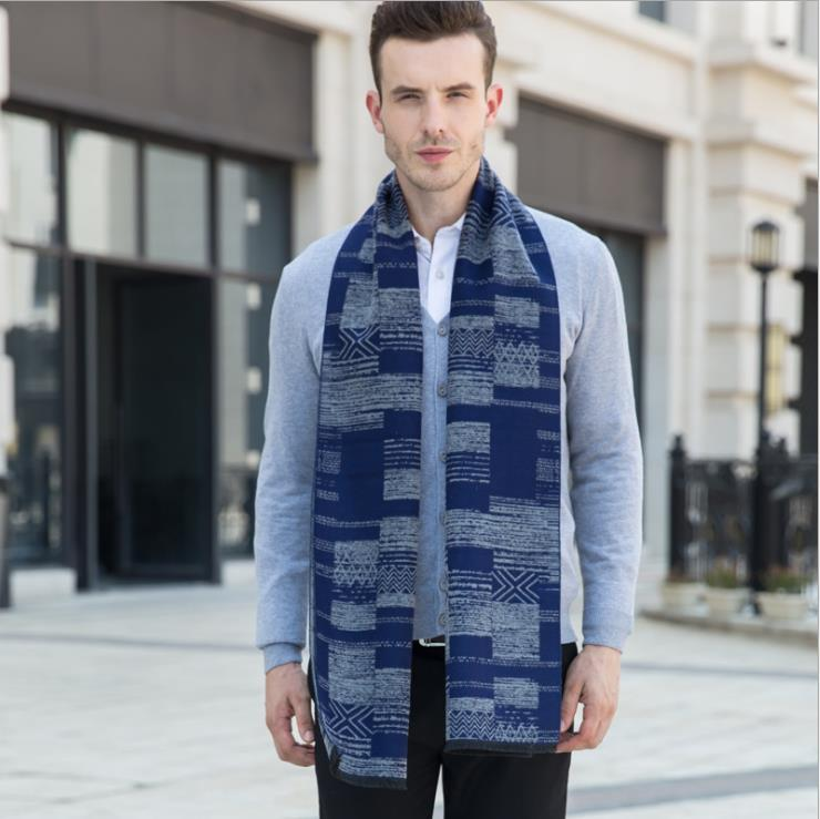 Fashion Men Scarf Winter Autumn Men Scarves Long Wraps Shawl Thick Warm Cotton Cashmere Wool Printed Men's Scarf Male Scarf