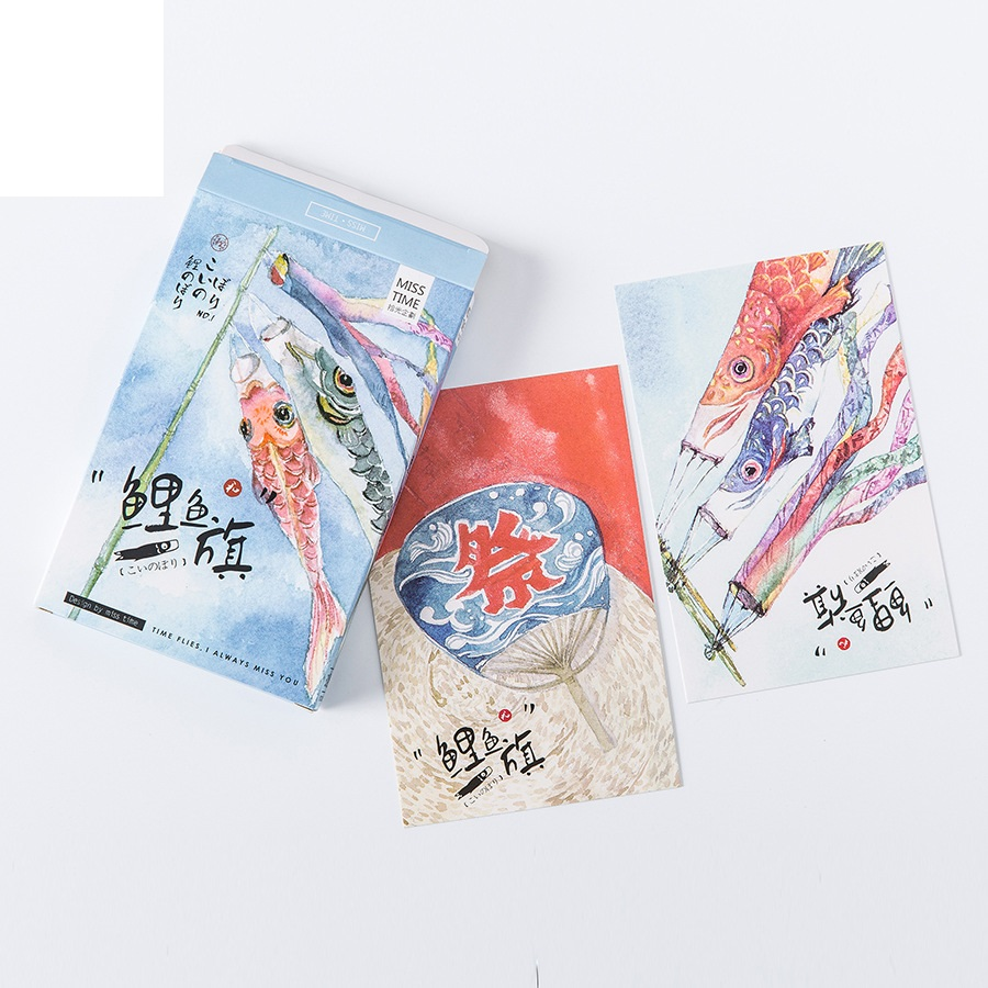 30 sheets/Set Japanese Style Windsock Carp Koinobori Postcard /Greeting Card/Message Card/Christmas and New Year gifts 30pcs in one postcard take a walk on the go paris france christmas postcards greeting birthday message cards 10 2x14 2cm