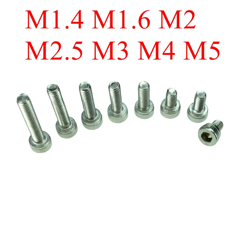 M1.4/M1.6 M2/M2.5M3/M4/M5 DIN912 304 Stainless Steel Hexagon Socket Head Cap Screws Inner Hex Socket Bicycle Bolt Metric Thread все цены