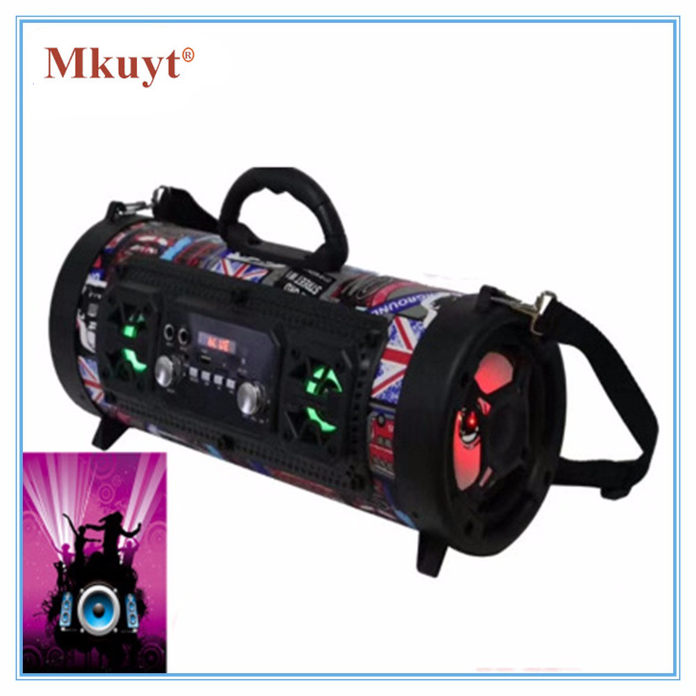 MKUYT New Outdoor Portable Bluetooth Speaker 15W Heavy Bass Multi Function Card Microphone Sound Tide for Smartphones heavy metal style portable bluetooth v2 1 speaker w tf microphone aux input golden black