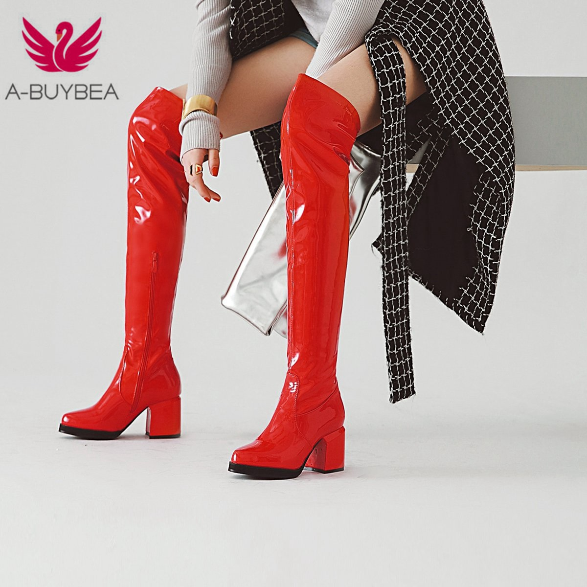 Women Over Knee Boots Shoes Winter Short Plush High Heel Ladies Shoes Zip PU Leather Boots for Women Black Zapatos Mujer Boots
