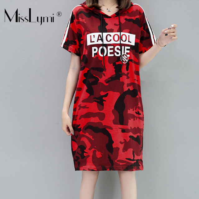 US $17.99 30% OFF|M 4XL Plus Size Women Camouflage Dress Summer 2019  Fashion Letter Print Side Stripes Short Sleeve Loose Casual Hooded  Dresses-in ...