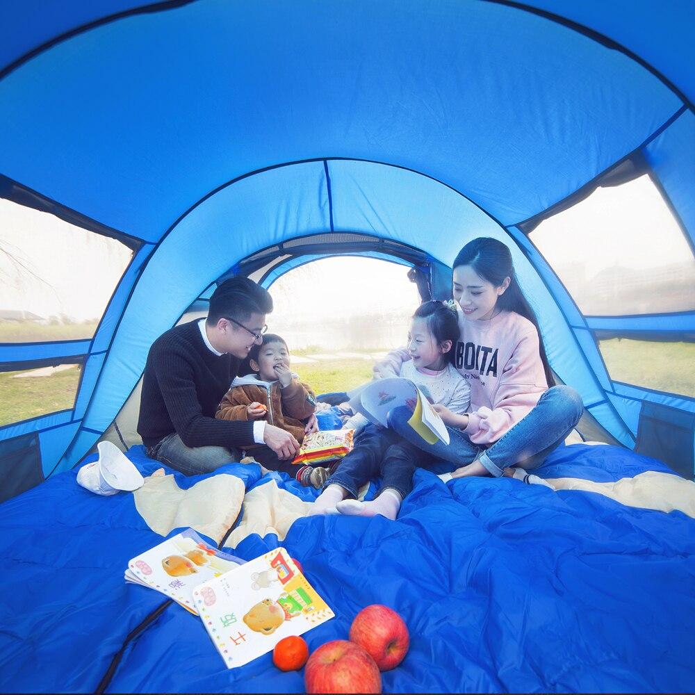 Tente de camping étanche grand espace 3-4 personnes automatique vitesse ouverte jeter pop up pare-vent camping famille tente - 5