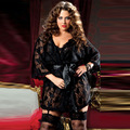 Plus size black lace nightwear robes half sleeve deep V sexy big size belted nighty extra size hot girls sleepwear nightgown